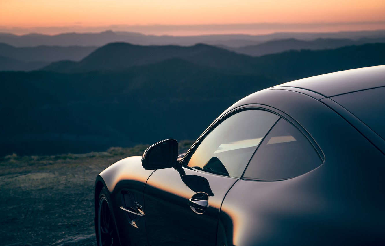 Photo wallpaper sunset, Mercedes-Benz, the evening, AMG, AU-spec, GT R, 2019