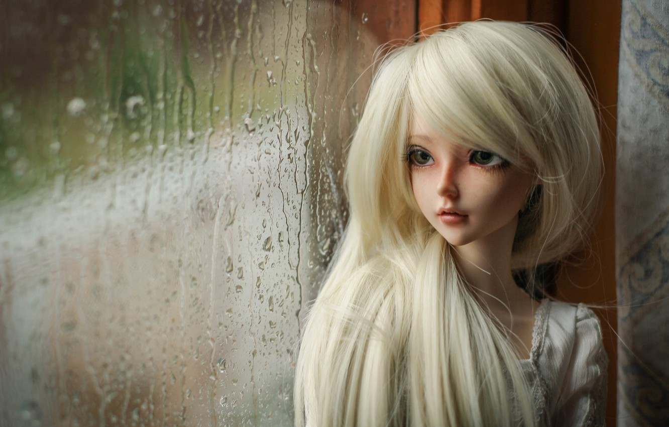 Photo wallpaper rain, doll, window, blonde