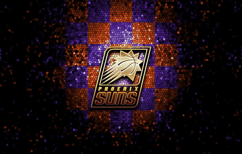 Photo wallpaper wallpaper, sport, logo, basketball, NBA, Phoenix Suns, glitter, checkered