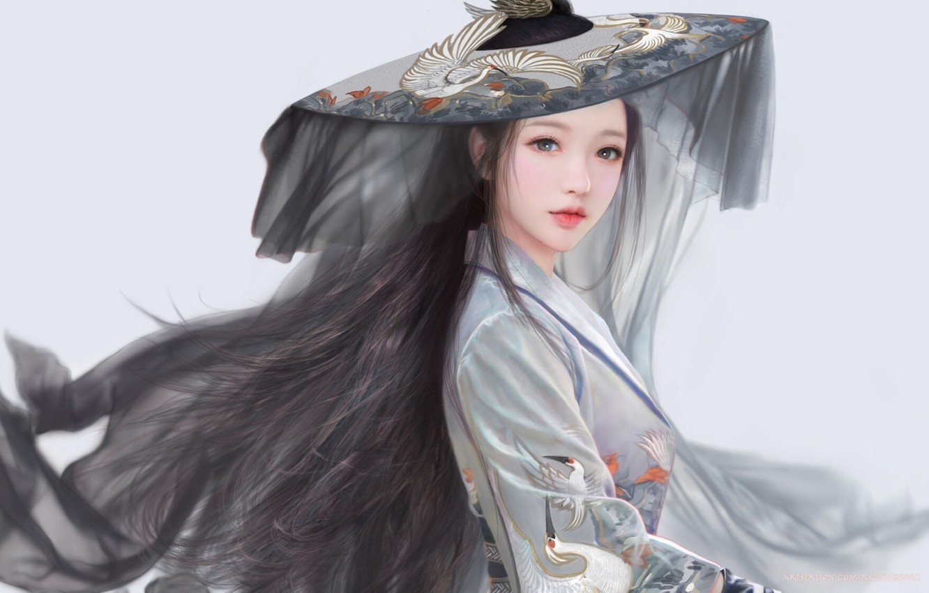 Photo wallpaper hat, grey background, long hair, veil, cranes, Korean, grey suit, by Ruoxin Zhang