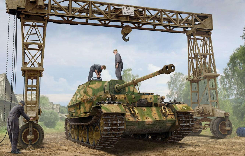 Photo wallpaper crane, SAU, the Wehrmacht, self-propelled artillery, Sd.Car.184, Ferdinand, Tank fighter, Valery Petelin, German heavy, Strabokran, …