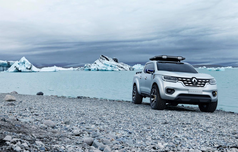 Photo wallpaper stones, shore, silver, ice, Renault, pickup, 2015, Alaskan Concept