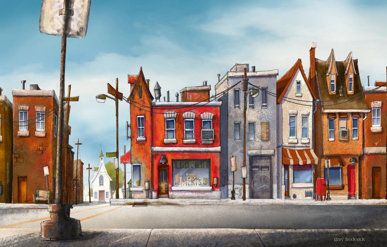 Photo wallpaper city, wallpaper, art, street, painting, buildings, pillar, road sign