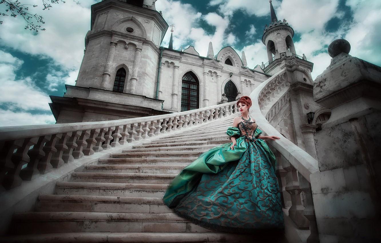 Photo wallpaper castle, dress, photographer, ladder, stage, Princess, lady, aristocrat, Maria Lipina