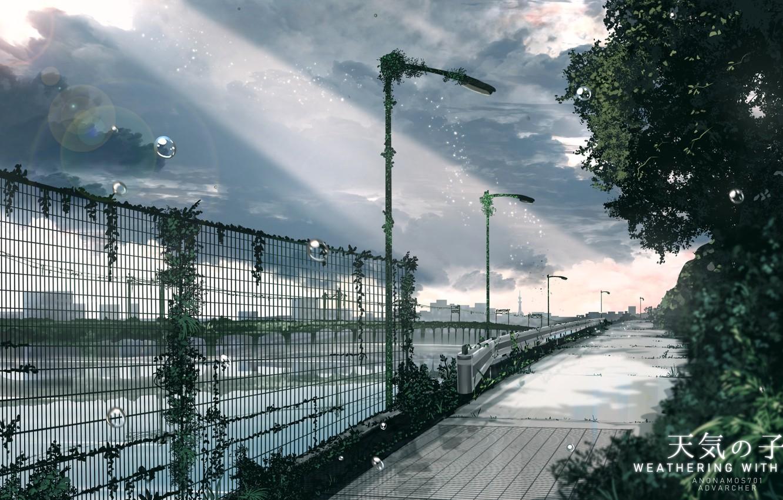 Photo wallpaper drops, bridge, the fence, promenade, the gray sky, a ray of sunshine, deserted city, asphalt …