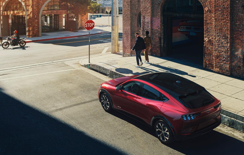 Photo wallpaper street, Ford Mustang, Mach-E