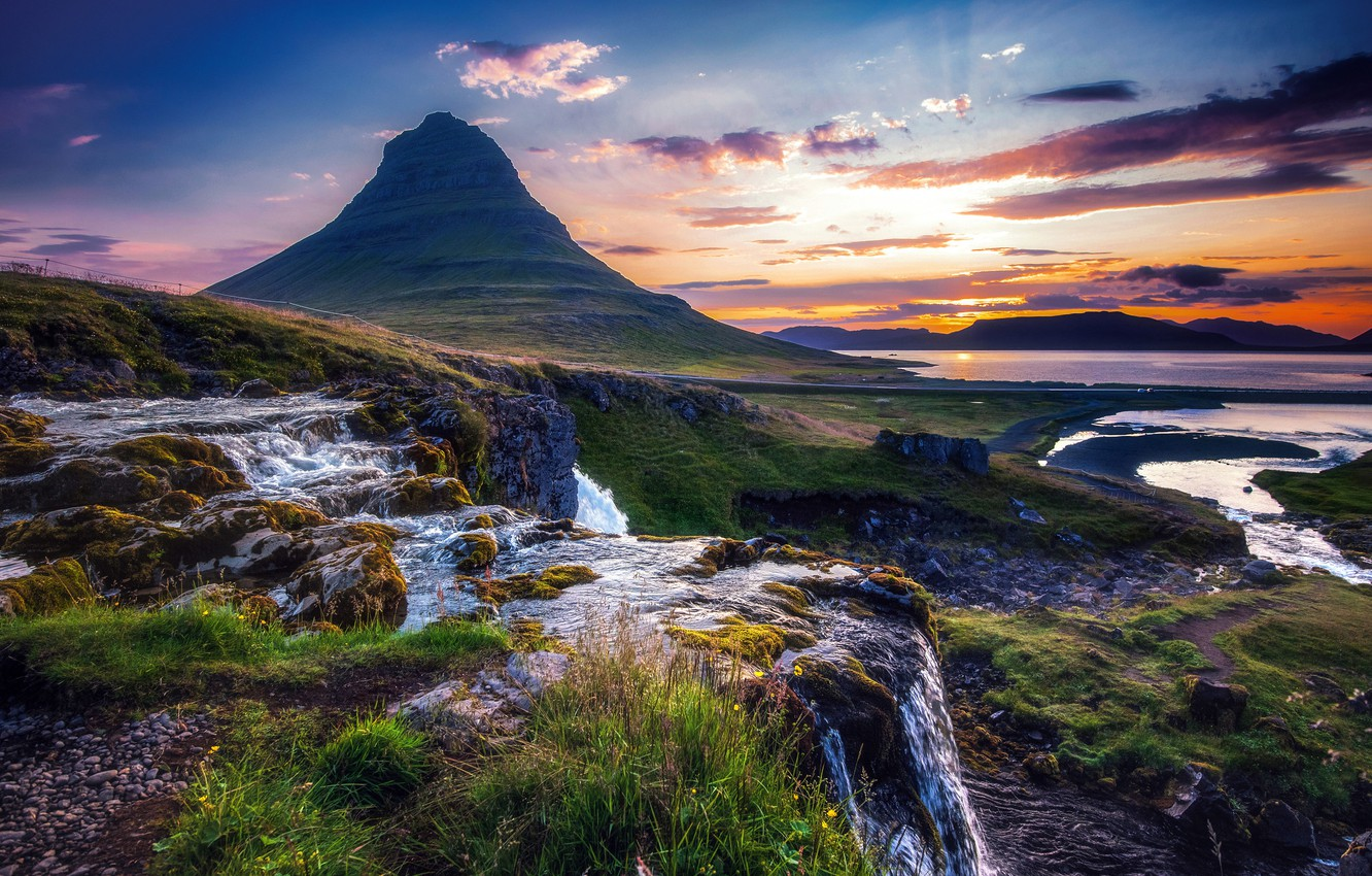 Photo wallpaper landscape, nature, mountain, Iceland, Kirkjufell, Kirkjufell, Алексей Кретов