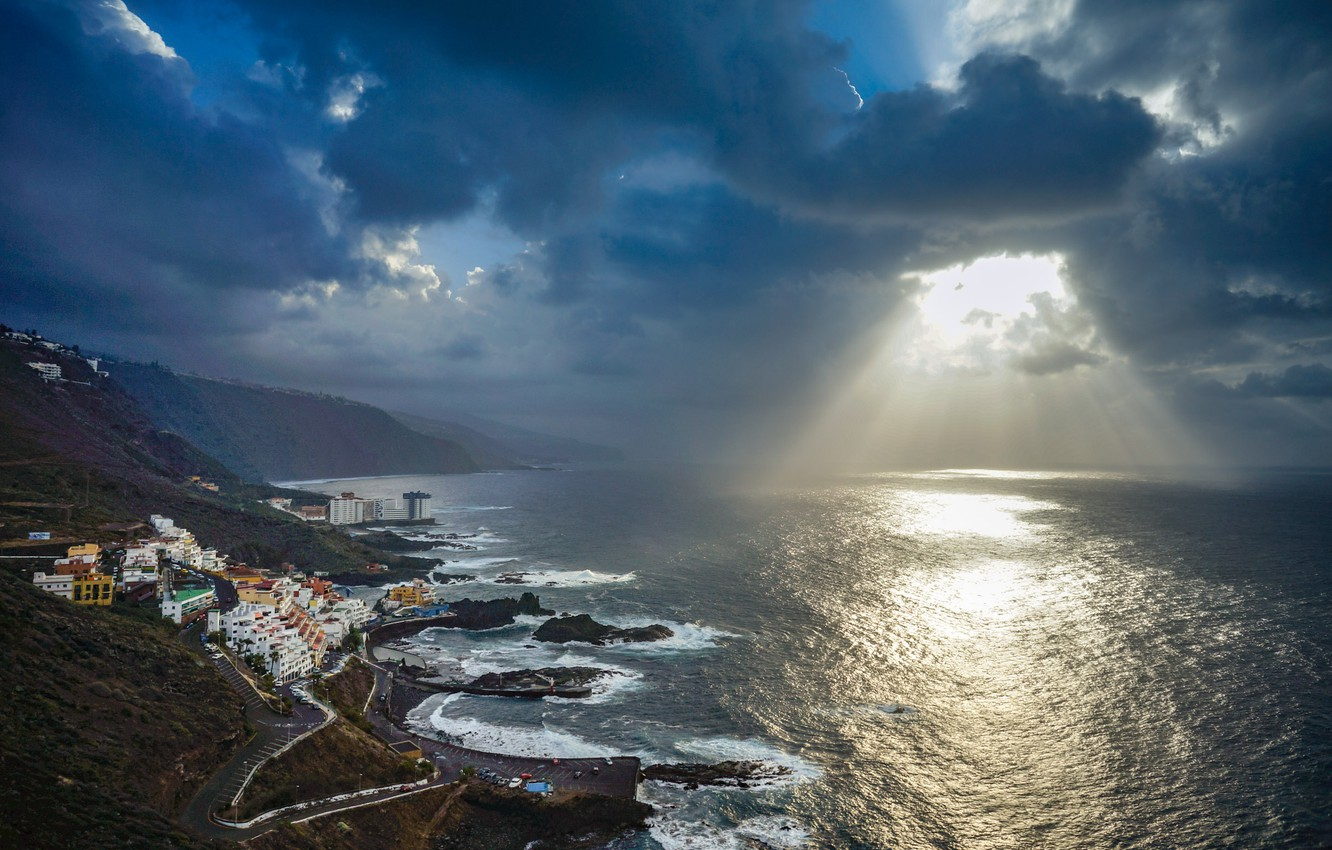 Photo wallpaper the sky, rays, light, mountains, clouds, the city, the ocean, coast, home, Canary Islands, Tenerife, …