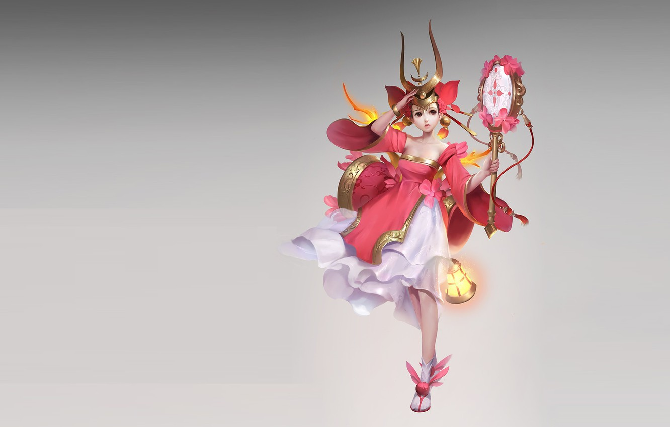 Photo wallpaper the game, fantasy, art, v wei, the costume design., Red girl daughter