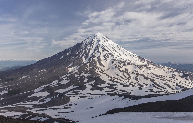 Photo wallpaper snow, the volcano, Kamchatka, hill, Avachinsky