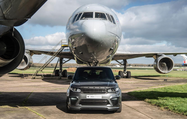 Photo wallpaper Land Rover, Range Rover, Sport, Silver, Aircraft, SVR, Urban Automotive