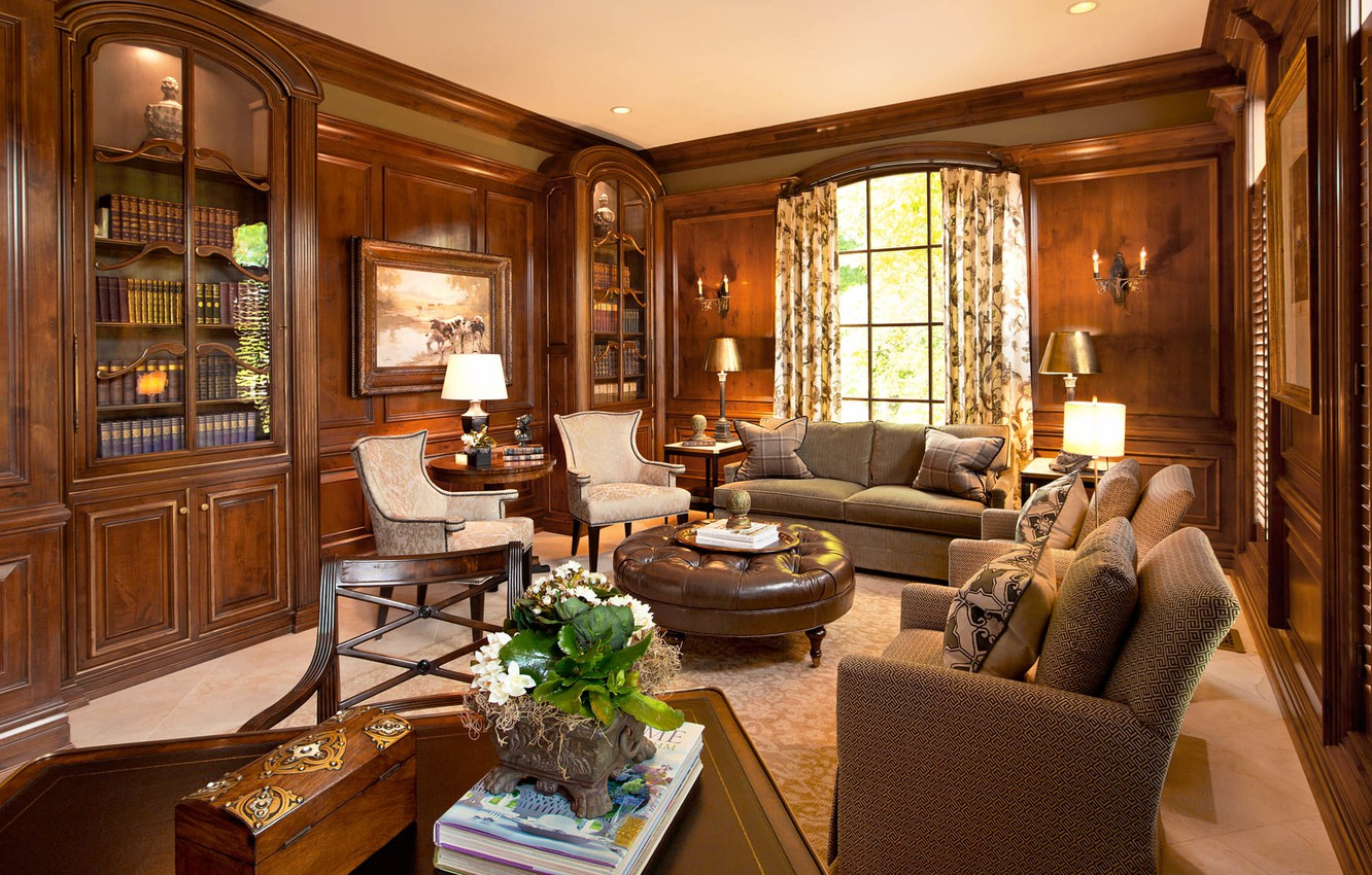 Wallpaper Interior Library Living Room English Style Nutwood Images For Desktop Section Interer Download
