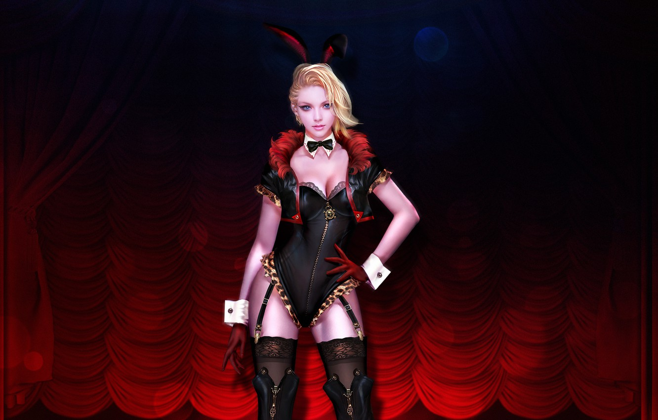 Photo wallpaper Girl, Look, Blonde, Girl, Costume, Art, Art, Bunny, Sexy, Figure, Rabbit, Ares, madeinkipish, by Ares, …