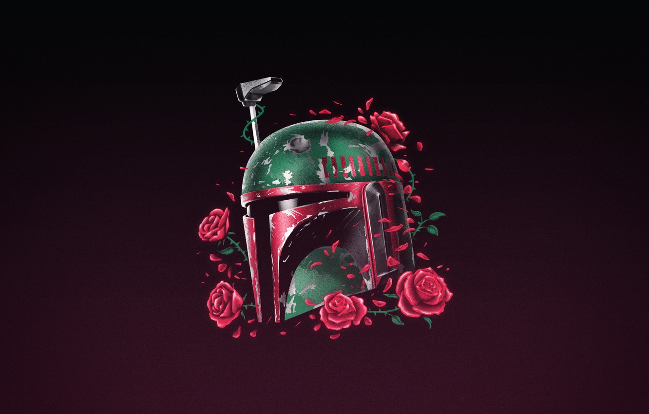 Wallpaper Minimalism Star Wars Helmet Background Mask Roses Art Art Boba Fett By Vincenttrinidad Vincenttrinidad By Vincent Trinidad Vincent Trinidad Made A Floral Illustration Of This Bounty Hunter Phantom Of The Empire
