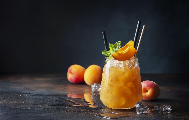 Photo wallpaper ice, cocktail, mint, apricots, Oxana Denezhkina