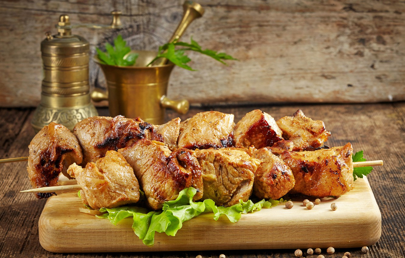 Photo wallpaper meat, Board, spices, kebabs
