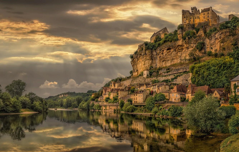 Photo wallpaper the sky, landscape, clouds, nature, rock, river, castle, France, home, Bank