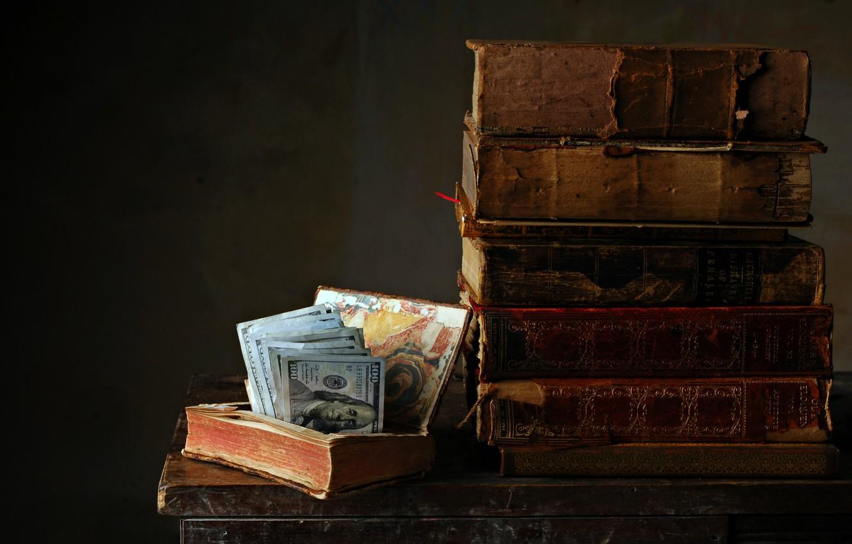 Photo wallpaper background, books, money