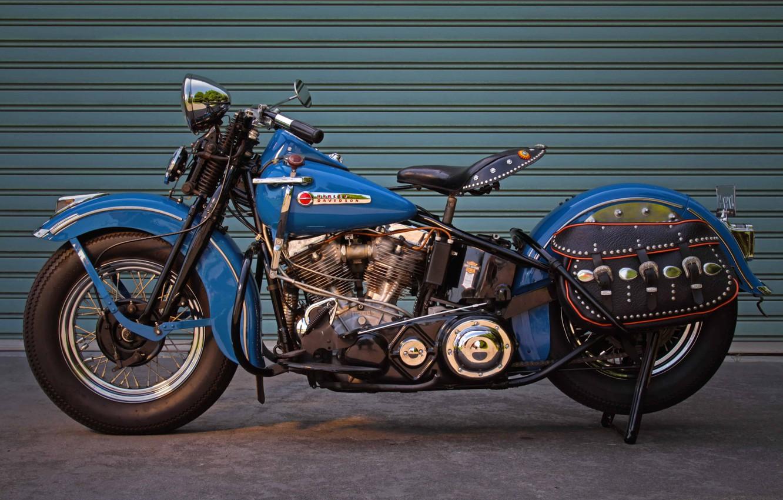 Photo wallpaper Blue, Harley-Davidson, 1948, Motorcycle, Panhead, Old bike, Antique motorcycle