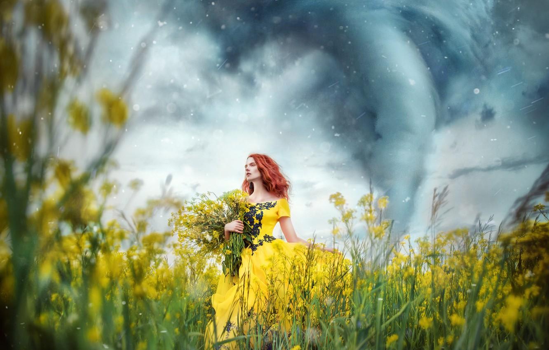Photo wallpaper flowers, nature, Girl, dress, red, Maria Lipina