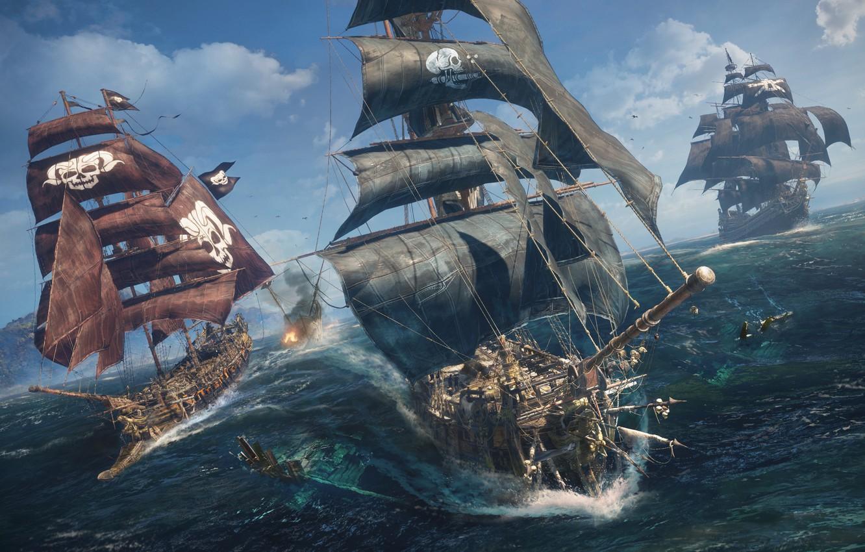 Photo wallpaper water, the ocean, ships, Skull and bones, E3 2018, Skull & Bones