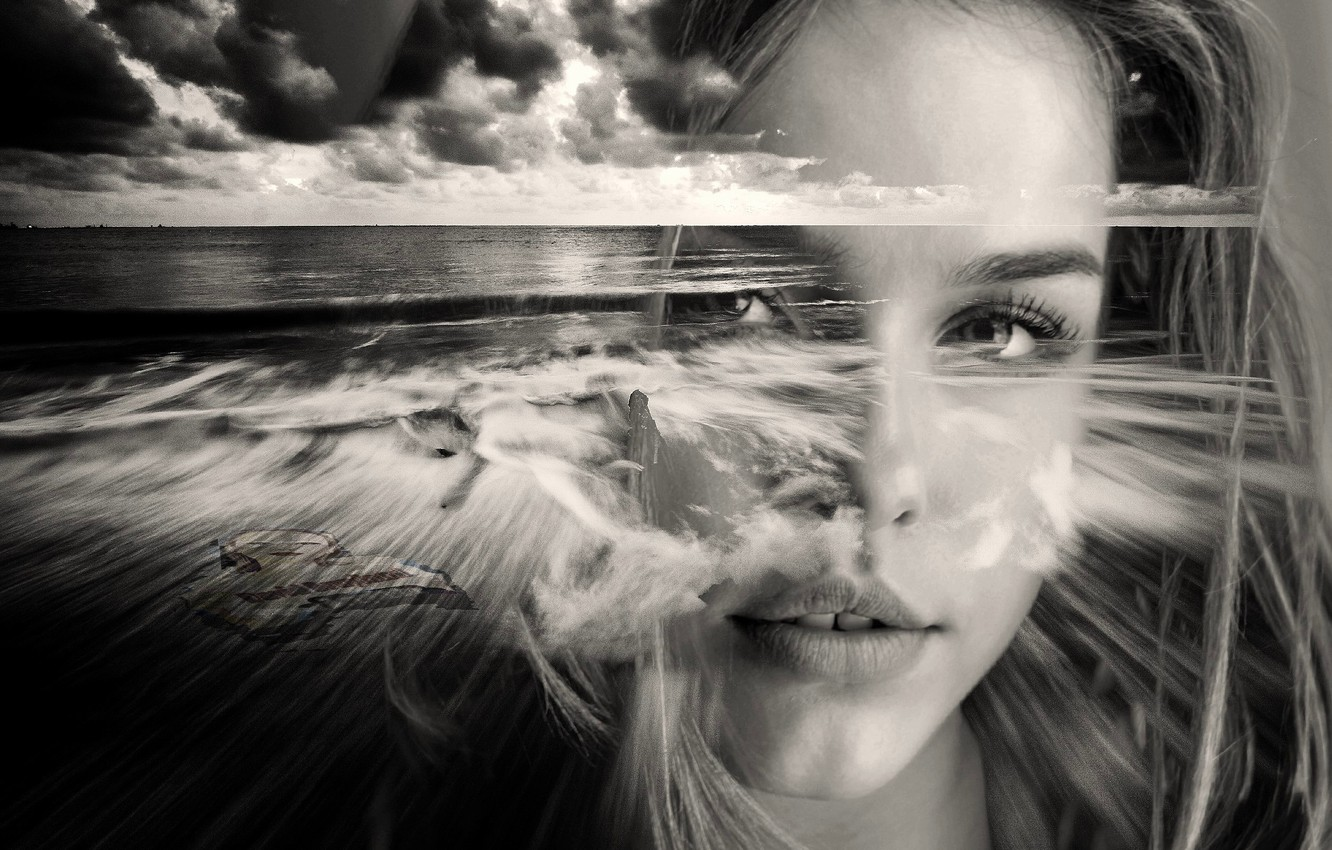Photo wallpaper sea, girl, face, black and white picture