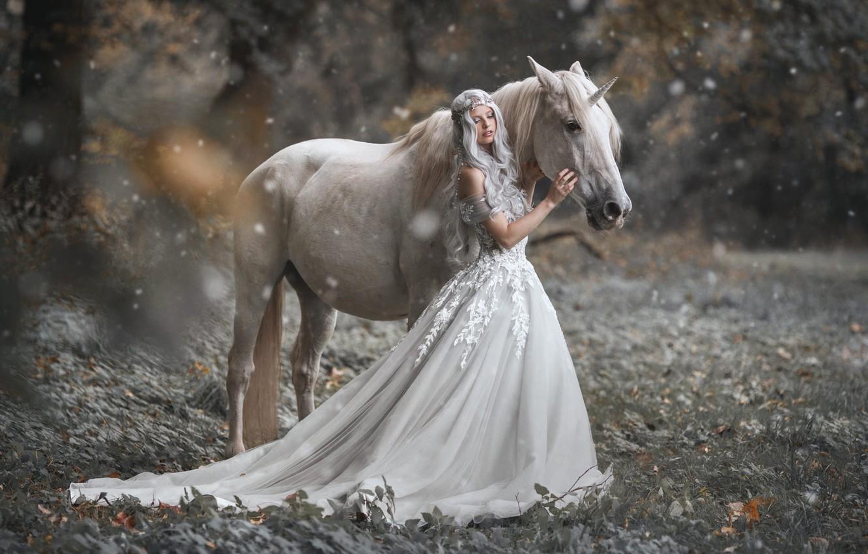 Photo wallpaper girl, nature, style, horse, horse, dress, fantasy, unicorn, Princess, snowfall, Marketa Novak