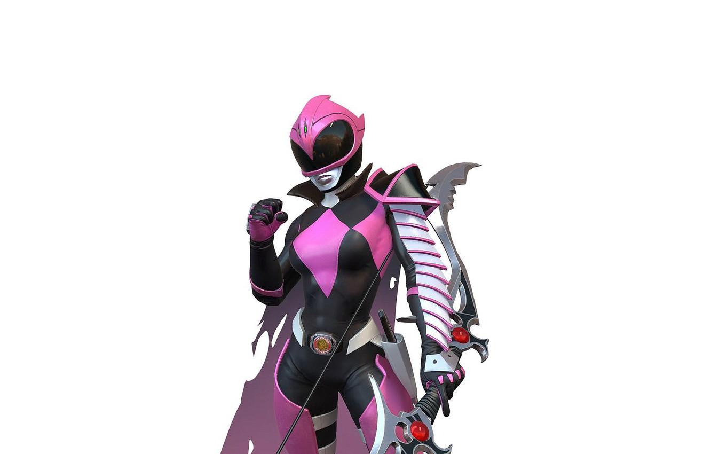 Photo wallpaper girl, background, bow, art, girl, armor, cloak, pink, art, ranger, evil, warrior, power rangers, Kimberly …
