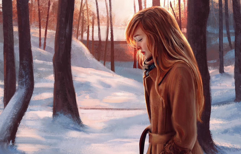 Photo wallpaper Winter, Girl, Figure, Trees, Snow, Girl, Art, Art, Red, Winter, Snow, Redhead, Trees, Redhead, Sunlight, …