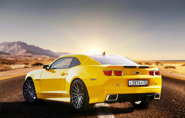 Photo wallpaper road, yellow, Chevrolet Camaro, Sergey Jakubicki
