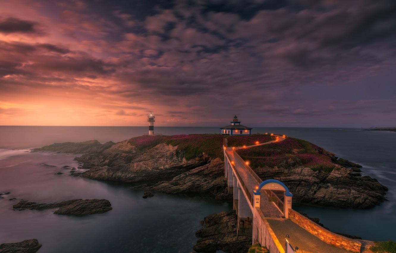Photo wallpaper sunset, bridge, lighthouse, the evening