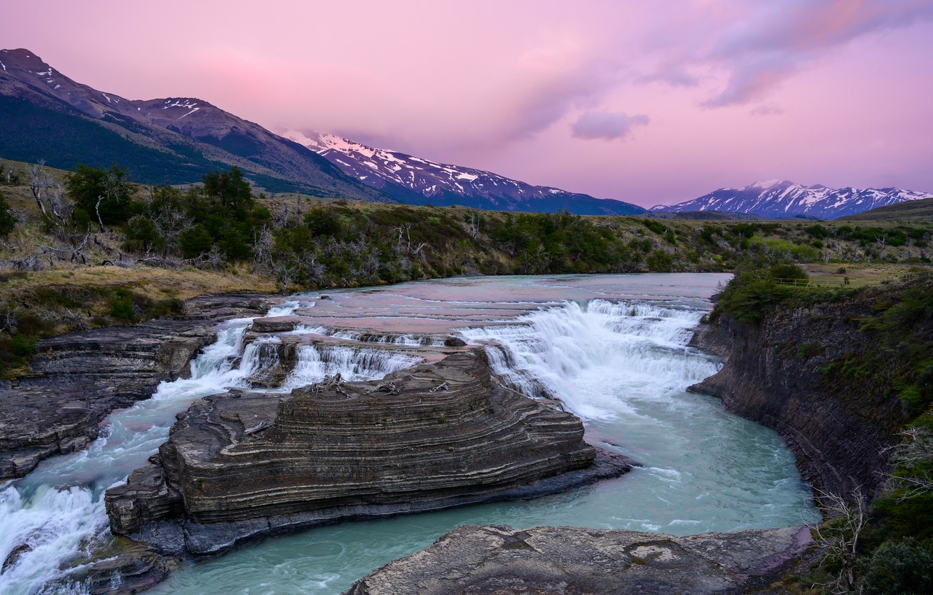 Photo wallpaper landscape, mountains, nature, river, Chile, Patagonia