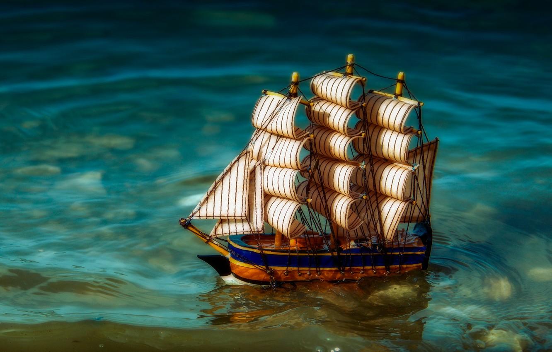 Photo wallpaper water, sailboat, boat, toy