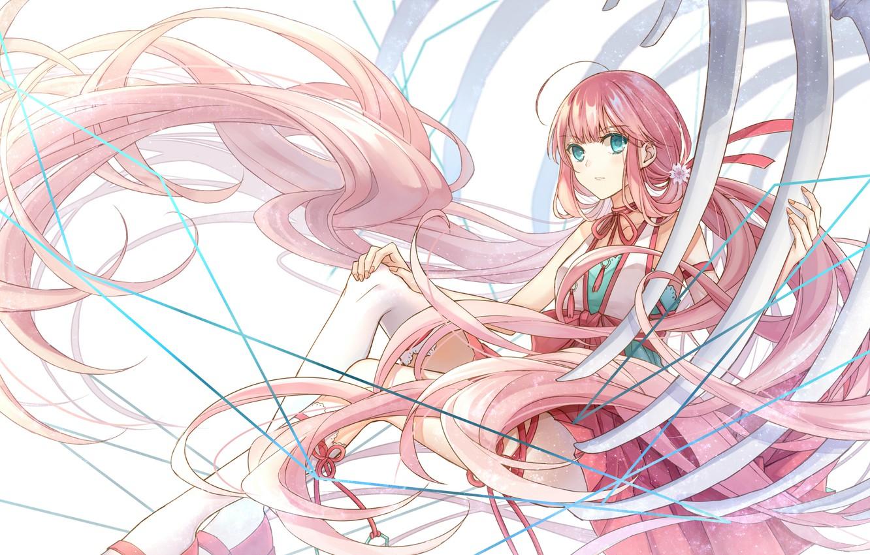 Photo wallpaper girl, bones, long hair, pink hair, ribs