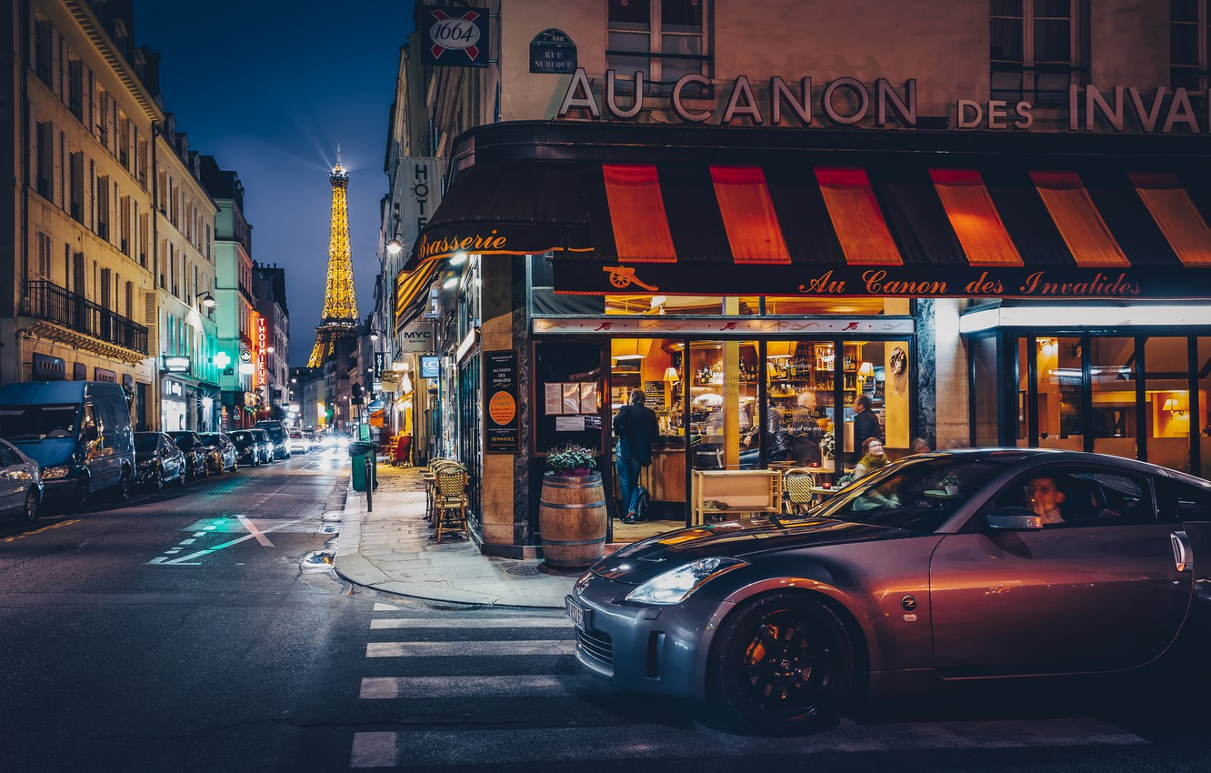 Photo wallpaper machine, the city, street, France, Paris, building, tower, home, the evening, lighting