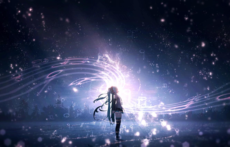Photo wallpaper the sky, night, music, Vocaloid, Hatsune Miku