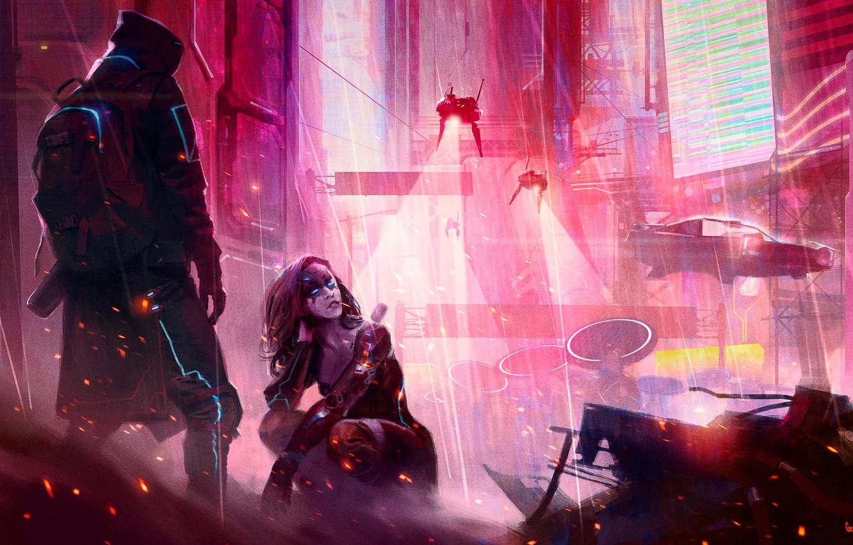 Photo wallpaper girl, the city, future, rain, the game, neon, art, hood, guy, cyberpunk, rpg, cyberpunk, RPG, …
