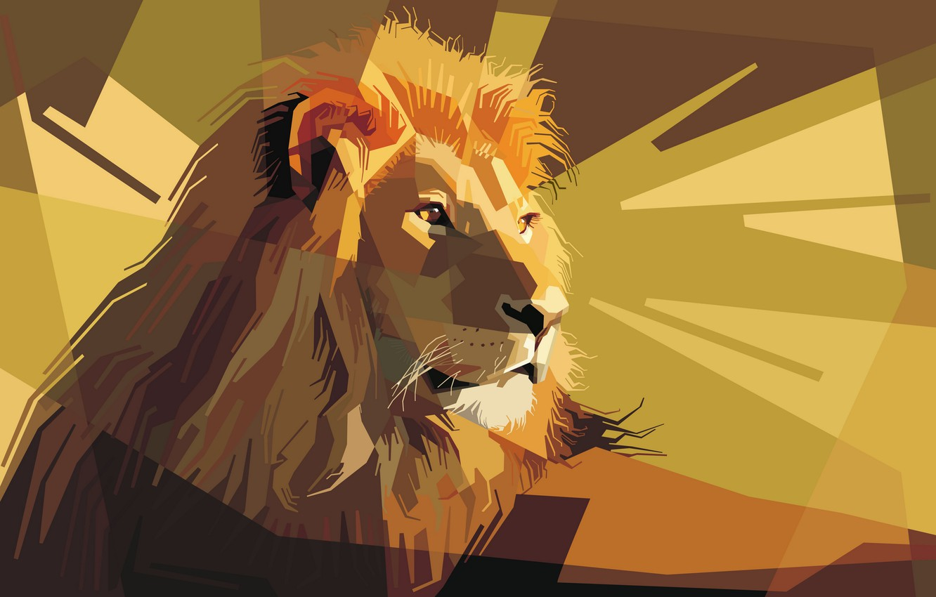 Photo wallpaper face, mane, Leo, the king of beasts, ears, low poly