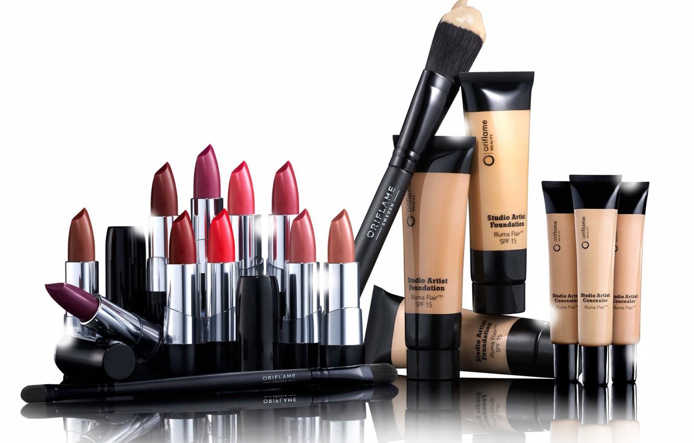 Photo wallpaper lipstick, brush, cosmetics