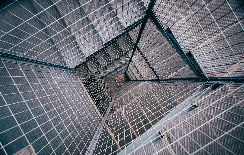 Photo wallpaper grille, ladder, down