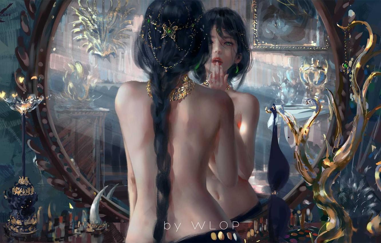 Photo wallpaper girl, fantasy, green eyes, butterfly, braid, lips, reflection, digital art, artwork, back, princess, fantasy art, …