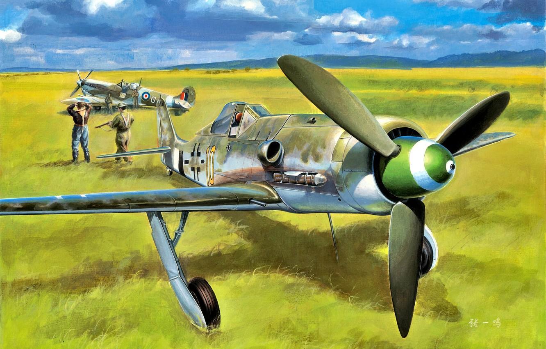 Photo wallpaper Supermarine Spitfire, Focke-Wulf, Pilot, The convoy, Fw.190D-13, Prisoner of war