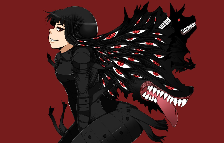 Photo wallpaper eyes, smile, Hellsing, red background, Helsing