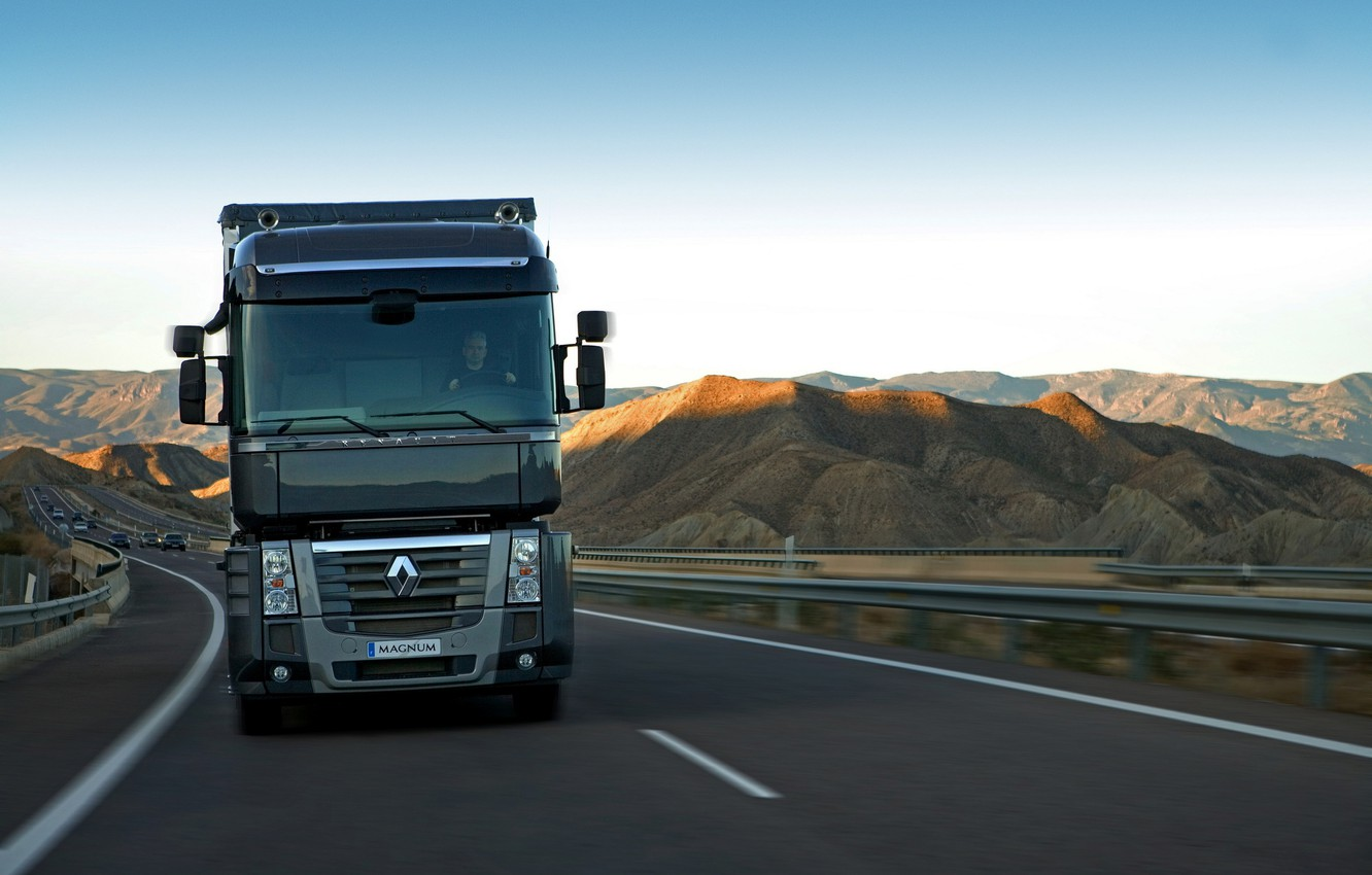 Photo wallpaper movement, black, track, truck, Renault, front view, Magnum, tractor, 4x2, Renault Trucks