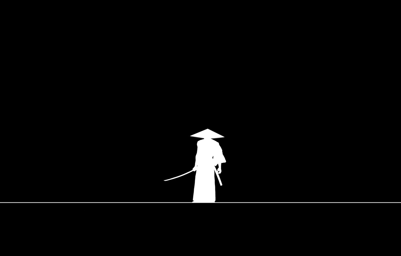 Wallpaper Sword Minimalism Weapon Hat Line Katana Man