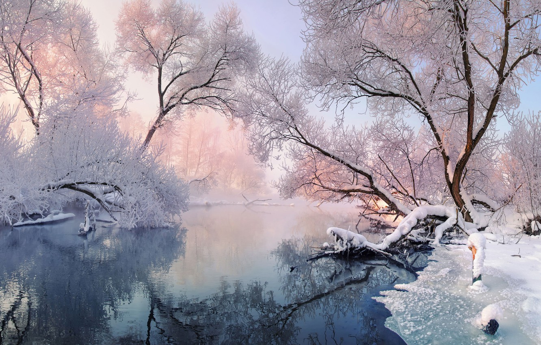 Photo wallpaper winter, landscape, of priod