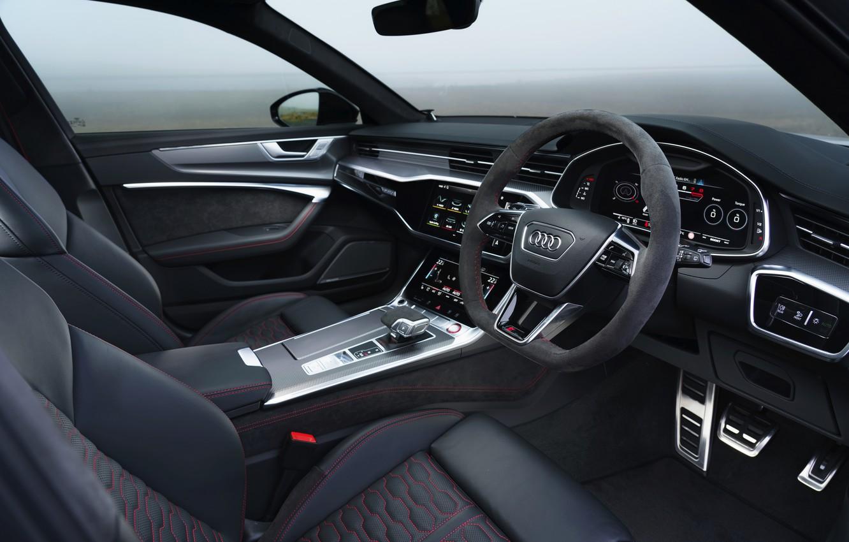 Photo wallpaper Audi, interior, universal, RS 6, 2020, 2019, V8 Twin-Turbo, RS6 Avant, UK-version