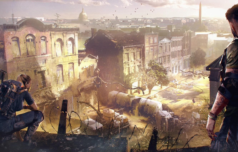 Photo wallpaper the city, war, devastation, Washington, Ubisoft, agents, Tom Clancy's The Division 2, The Division 2