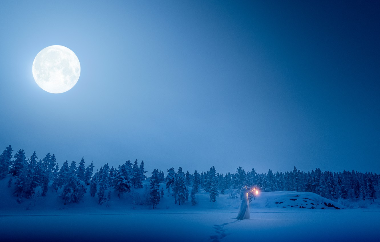 Photo wallpaper winter, forest, girl, snow, traces, the moon, lantern, white robe
