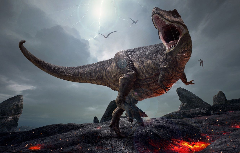 Photo wallpaper graphics, dinosaur, grin, Tyrannosaurus